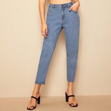 Stitch Detail Elastic Waist Jeans