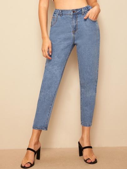 b6dede37e6411 سروال جينز بخصر مطاطي وبتفاصيل مدروز