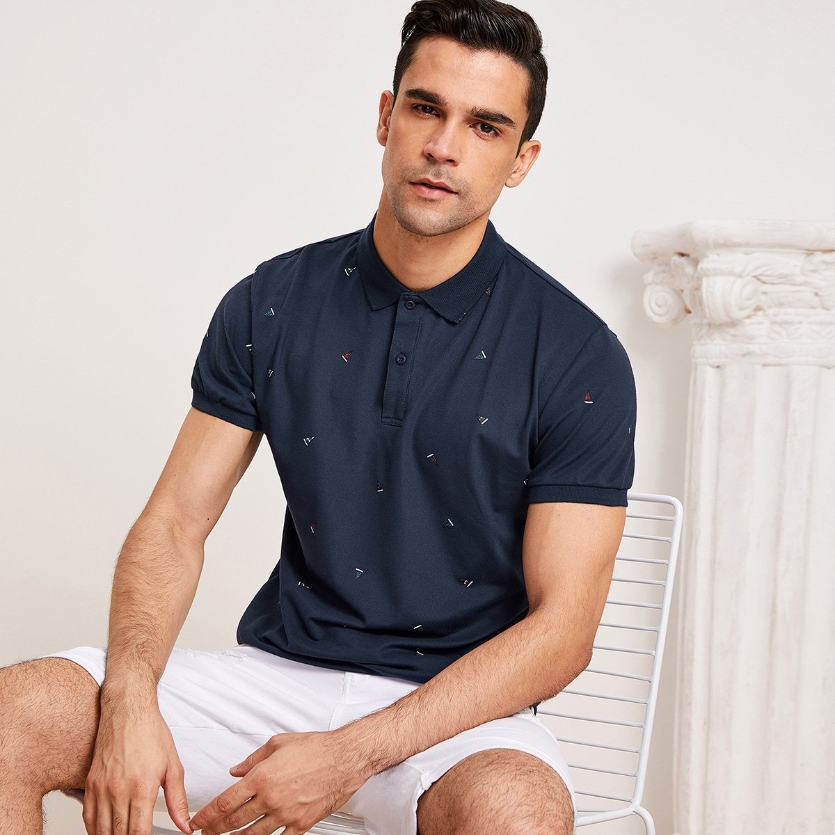SHEIN coupon: Men Sailboat Print Polo Shirt