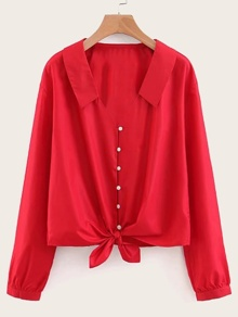 Button Front Knot Hem Solid Blouse