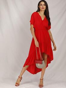 Shirred Tie Back Ruffle Hem Dress