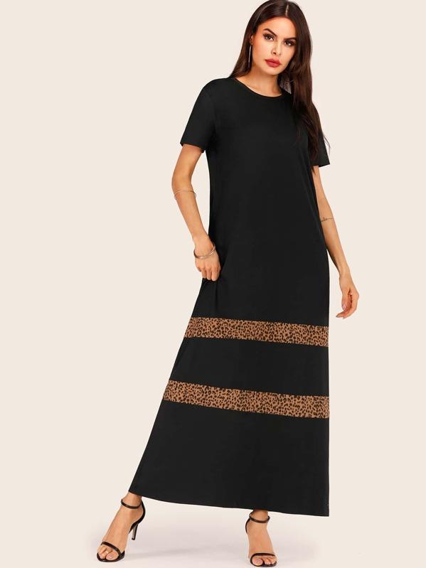75affda28e5 Leopard Panel Maxi T-shirt Dress | SHEIN