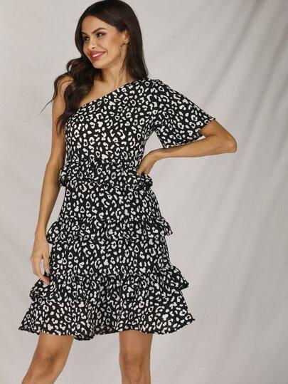 15a34c045732 Leopard Print One Shoulder Ruffle Trim Dress