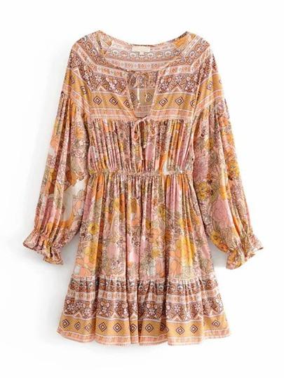 a1d0bac3ede Floral Print Tie Front Dress
