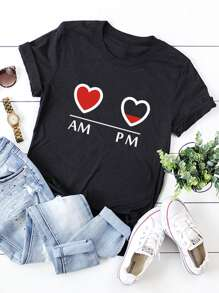 Heart And Letter Print Tee