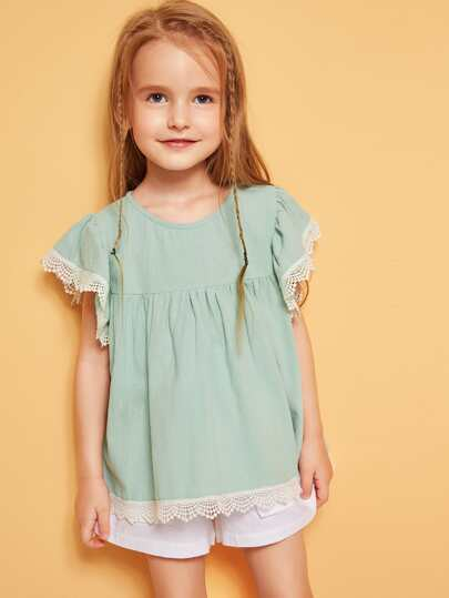 b7bbdf46 Toddler Girls Flutter Sleeve Lace Trim Top