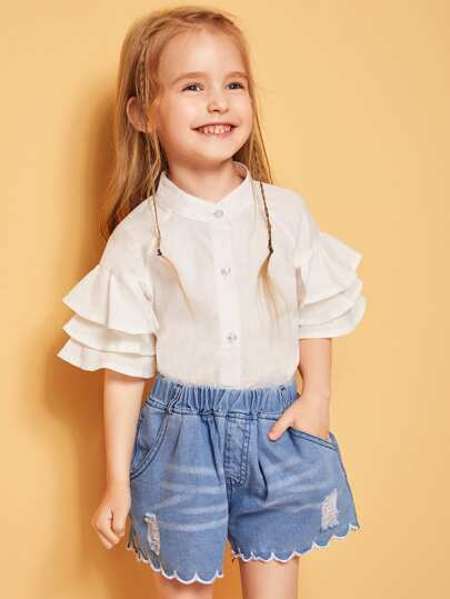 b209d4776ba4 Toddler Girls Button Front Solid Layered Sleeve Shirt
