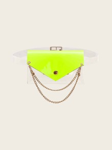Double Layered Chain Decor Clear Bum Bag