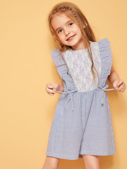 Toddler Girls Lace Insert Ruffle Armhole Striped Romper