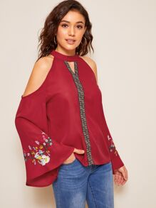 Keyhole Halterneck Bell Sleeve Embroidered Top