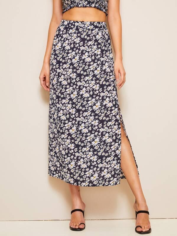6e864e8be Ditsy Floral Print Slit Hem Straight Skirt | SHEIN UK