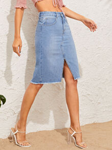 Split Front Frayed Edge Denim Skirt