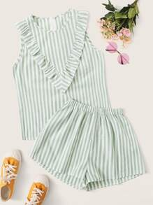 Zip Back Ruffle Trim Striped Sleeveless Top & Shorts Set