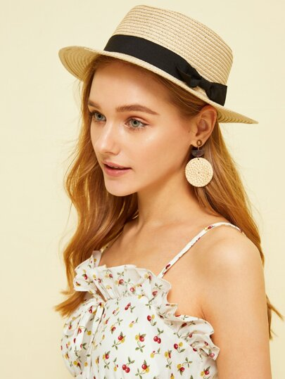 Bow Decor Flat Top Fedora