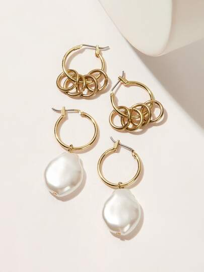 Faux Pearl & Ring Decor Hoop Earrings 2pairs