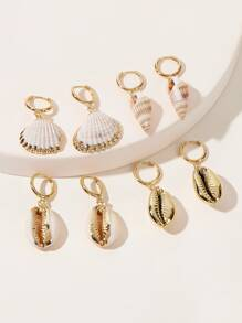 Shell Drop Hoop Earrings 4pairs