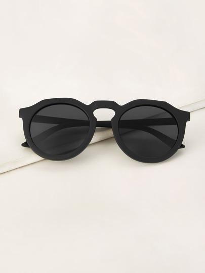8416069c2099c Round Frame Flat Lens Sunglasses