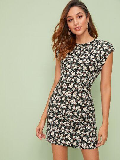 6c665618ce9 Zip Back Floral Print Dress