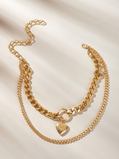 Heart Pendant Layered Chain Necklace 1pc