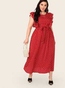 Plus Ruffle Armhole Polka Dot Belted Dress
