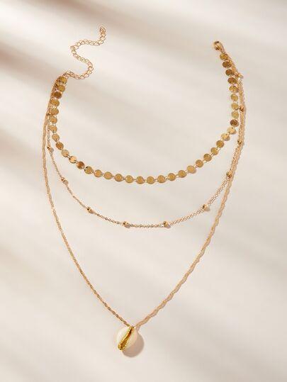 4c2f1ad082ad Collar de cadena a capas con diseño de concha y disco 1 pieza