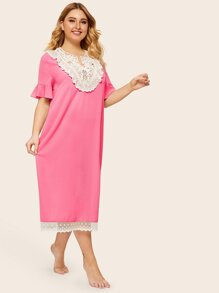 Plus Flounce Sleeve Lace Insert Nightdress