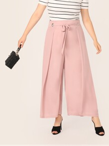 Plus Tied Ring Detail Wide Waistband Pleated Pants