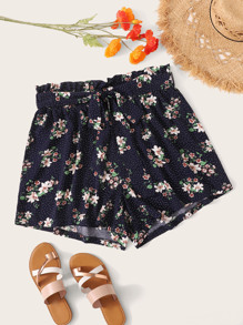 Plus Mixed Print Paperbag Waist Shorts