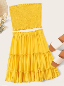 Shirred Bandeau Top and Frill Trim Skirt Set
