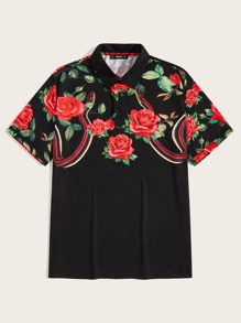 Men Flower and Snake Print Polo Shirt
