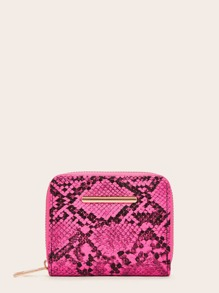 Zip Around Snakeskin Print Purse