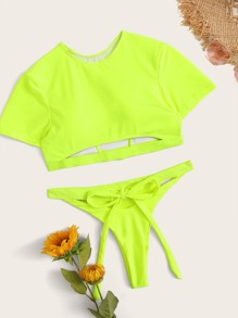 Neon Lime Short Sleeve Self Tie Two Piece Swimwear