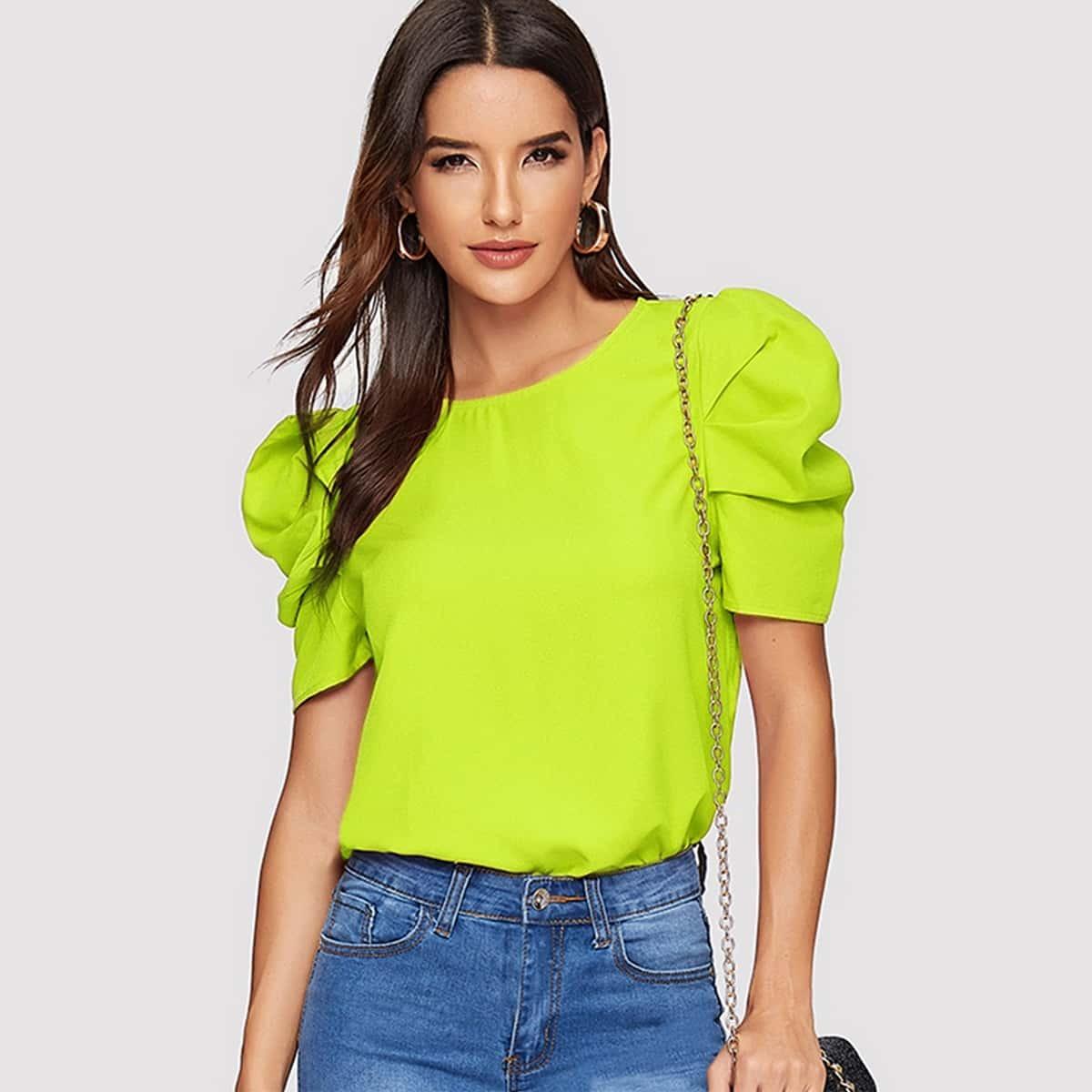 Неоновая блуза с рукавом фонарик и застежкой сзади