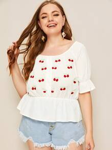 Plus Cherry Embroidered Ruffle Hem Blouse