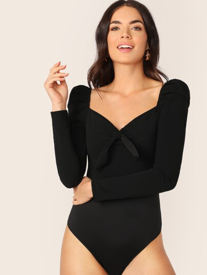 Zip Back Tie Front Puff Sleeve Bodysuit