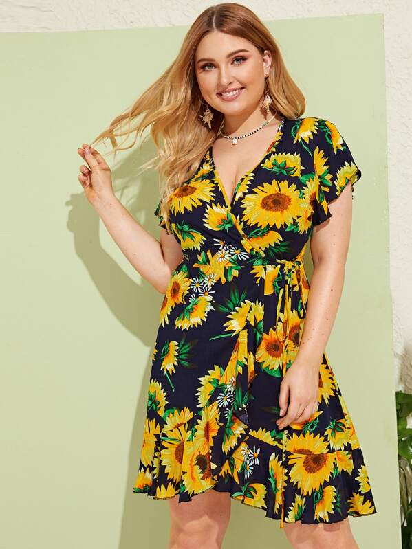 Plus Sunflower Print Tie Side Dress