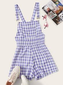 Plus Gingham Pocket Overalls