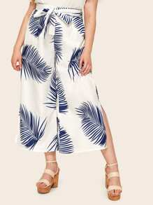 Plus Tropical Print Wide Leg Split Side Belted Pants