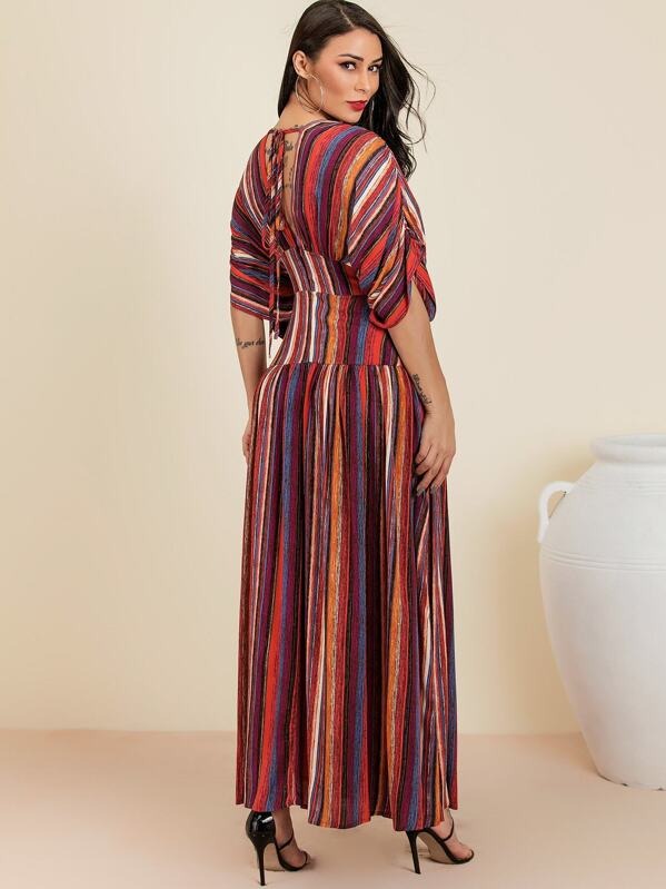 75e3684594e8 Glamaker Plunge Neck Tie Back Colourful Striped Maxi Dress | SHEIN UK