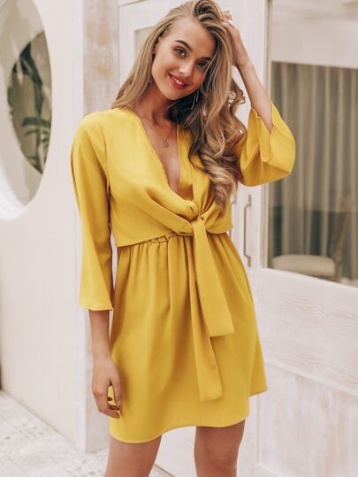 Simplee Solid Plunge Neck Knotted Front Dress
