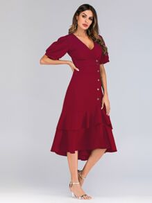 Button Through Ruffle Hem Shirt Dress