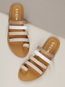 Toe Ring Strappy Flat Slide On Sandals