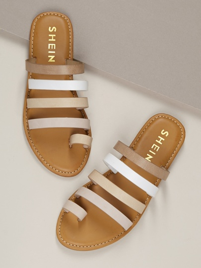 2bab8e25bf Toe Ring Strappy Flat Slide On Sandals