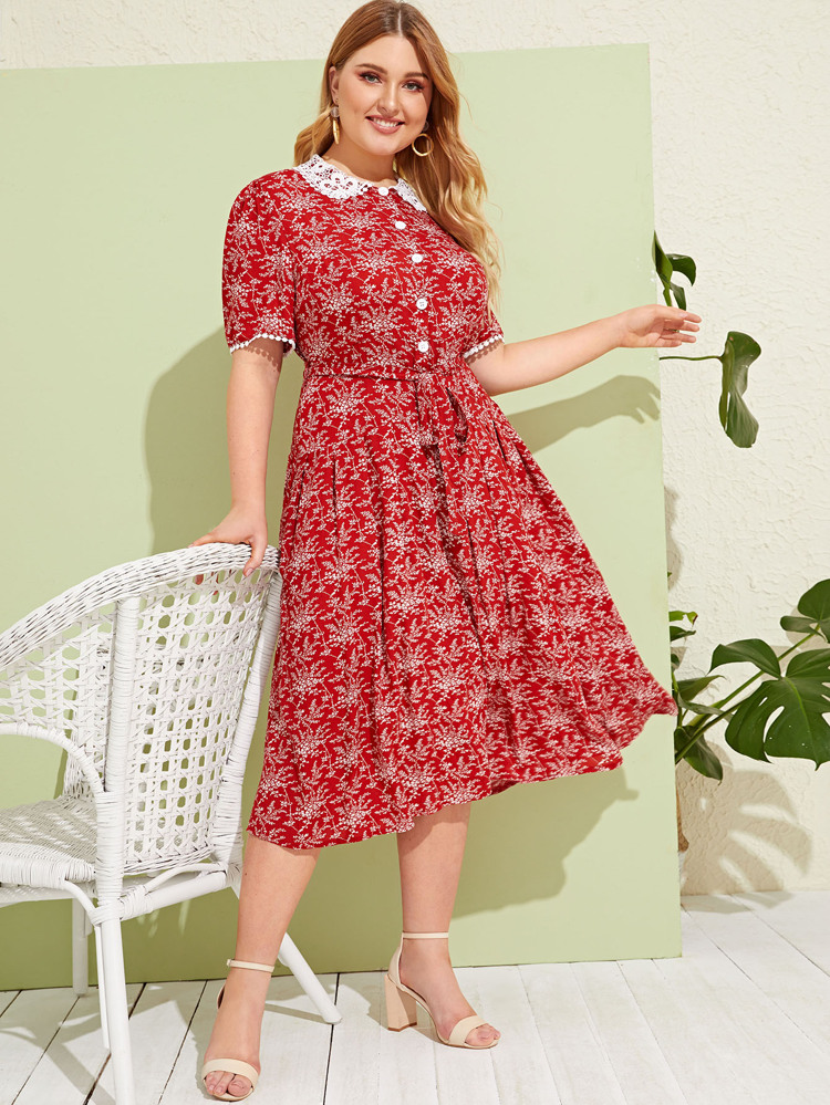 Plus Ditsy Floral Button Front Peter Pan Collar Dress