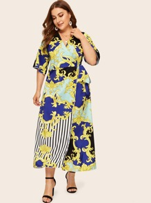Plus Striped & Scroll Print Wrap Belted Dress