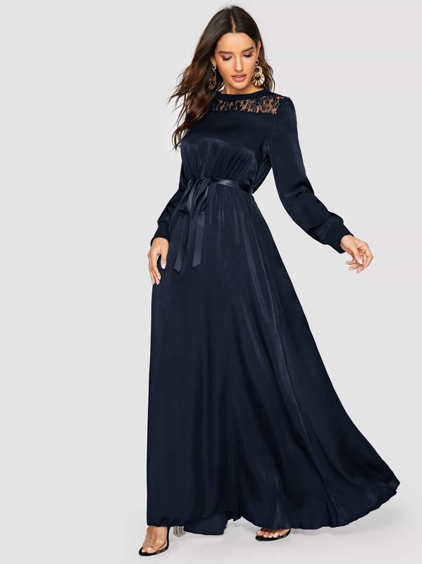 bee7143b20 Solid Lace Yoke Belted Satin Maxi Dress | SHEIN UK