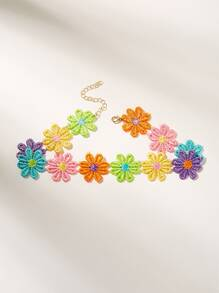 Flower Embroidery Choker 1pc