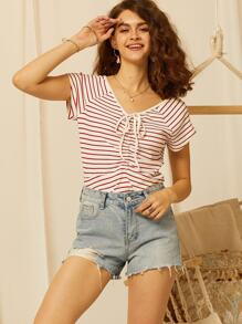 SBetro Drawstring Waist Raglan Sleeve Striped Tee