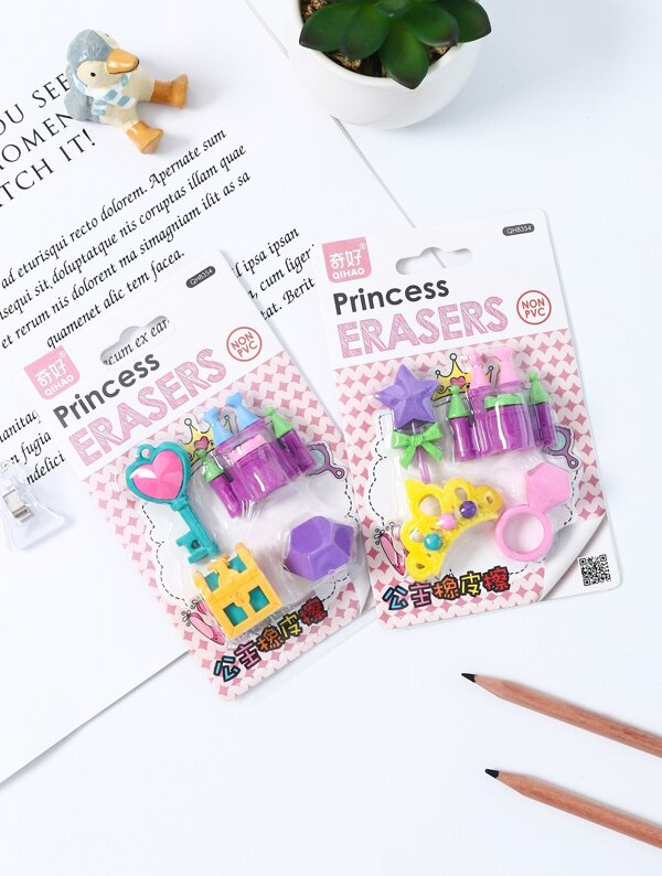 Random Castle Eraser Set 4pcs