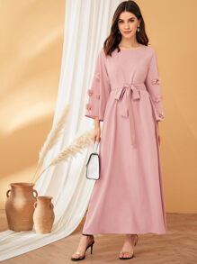 3D Applique Belted Maxi Dress